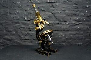 Large Antique Leitz Wetzlar Brass Microscope in Case ~ 3 Objectives & 3 Lenses