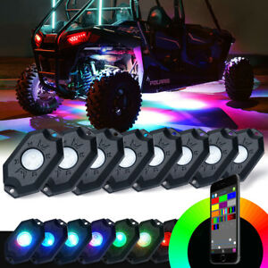 Xprite 8x Pods RGB LED Rock Light Offroad Wireless Bluetooth Music Controller