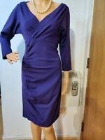 NEW DIANE VON FURSTENBERG RUCHED DRESS SIZE UK 10 APPROX (DVF 6) PURPLE