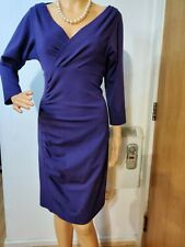 NEW DIANE VON FURSTENBERG RUCHED DRESS SIZE UK 10 APPROX (DVF 6) PURPLE