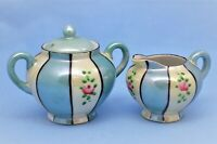 VINTAGE JAPAN LUSTERWARE MINIATURE SUGAR BOWL AND CREAMER SET