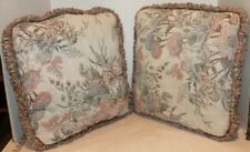 """2 Vintage Throw Pillows - Tapestry with Fringe - Beige Pink Floral Design - 14"""""""