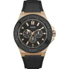 INDOVINA Men's Force 45MM nera in pelle Band orologio al quarzo cassa in acciaio W0674G6