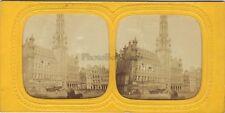 Bruxelles Belgique Hôtel de Ville Stereo Diorama Vintage Albumine ca 1865