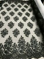 Black_ Floral Embroider Mesh Lace Fabric By Yard Corded Sequins Flower Metallic
