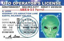 UFO CRUISIN' LICENSE AREA 51 PERMIT NOVELTY PLASTIC CARD