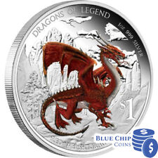 2012 $1 Dragons of Legend Red Welsh Dragon 1oz Silver Proof Coin Numbered: 6
