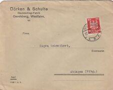 GEVELSBERG, Briefumschlag 1926, Dörken & Schulte Baubeschlag-Fabrik