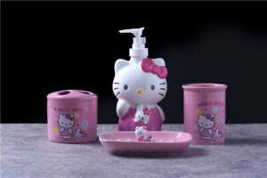 4pcs Pink Hello Kitty Bathroom Accessory Set Ceramic Soap Dish Dispenser Tumbler