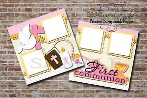 First Communion Girl Pink 2 PRINTED Premade Scrapbook Pages BLJgraves 22
