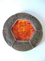 "Vintage Treasure Craft Ashtray Queen Mary Long Beach Calif. Red Orange 7.5"""