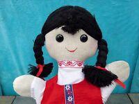 Antique Primitive GIRL Hand Babushka  PUPPET Toy Handmade Doll Unique OOAK