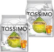 32 TASSIMO TWININGS GREEN TEA & MINT T-DISCS CAPSULES PODS: 2 FULL PACKS