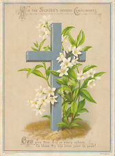 1880s Lg. Easter Victorian Lithographed Card, Silver Cross, Lilies, Hildesheimer