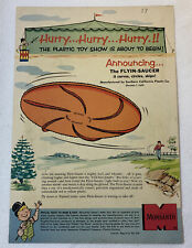 1957 Monsanto ad page ~ THE FLYIN-SAUCER ~ early frisbee