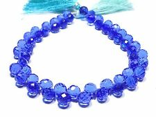 Blue Topaz Hydro Quartz Faceted Onion Teardrop Shape Briolette Beads 8x8mm