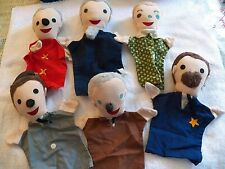 Vintage Puppet Show People - 6 pc - Hand Puppets Preschool Toy Pretend Play Toys