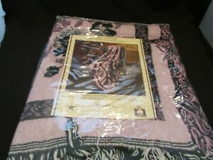 Vintage Handcrafted Look and Feel Pink And Black 100% Cotton 50 by 60 New U S A