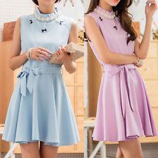 Polyester Collar Patternless Dresses for Women