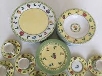 Beautiful St James  yellow  bone china dinnerware set for 12 people.: