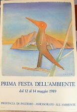 Folon Jean-Michel affiche originale Prima Festa dell 'Ambiente 1989 Palermo