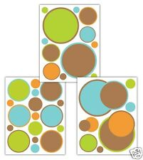 Blue Polka Dot Wall Art Decals Baby Boy Nursery Brown Orange Green Stickers
