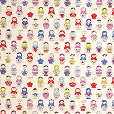 CANVAS HEAVY COTTON UPHOLSTERY BAG CRAFT FABRIC CUTE RUSSIAN DOLL MATRYOSHKA 44""