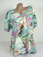 Damen Shirt Blumenmuster Rössler Bluse Oberteil T-Shirt Stretch Kurzarm Gr 46-52