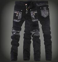 New Fashion Mens PU Leather Zipper Black Slim Fit Pants Skinny Casual Trousers