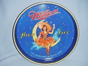 "Vintage 13"" Miller High Life Girl On Moon Beer Drink Serving Metal Tray"
