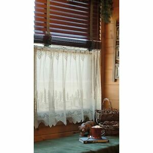 "Heritage Lace Pinecone Ecru/Cream Country Scalloped Window Cafe Tier 60""x24"""