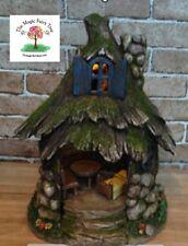 Solar Fairy Garden Stone Tree House two storey treehouse with furniture fairies