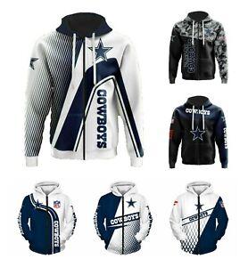 Dallas Cowboys Fans Hoodie Football Full Zip  Sweatshirt Casual Hooded Jacket US