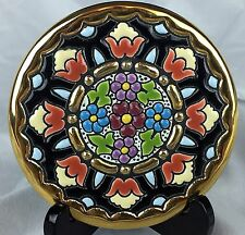 Cearco 24K Gold Trim Hand Painted Decorative Plate Spain Floral