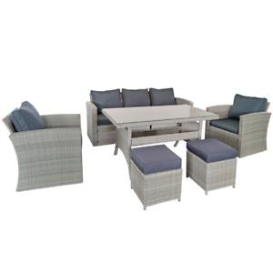 Luna Rattan 7 Seat, Sofa, Chairs & Dining Table Set