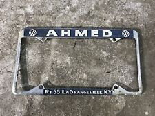 Vintage Volkswagen Dealer License Plate Holder Frame Ahmed VW LaGrangeville NY