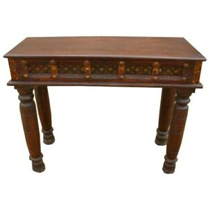 Carved Wood Brass Acent Entry Hall Foyer Console Table 110Xx40x80