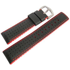 20mm Hirsch Performance Robby Black Sailcloth and Red Rubber Watch Band Strap