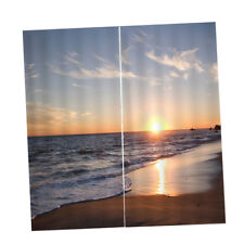2 Panel 3D Seaside Print Window Curtains Room Nature Scenery Picture Decor