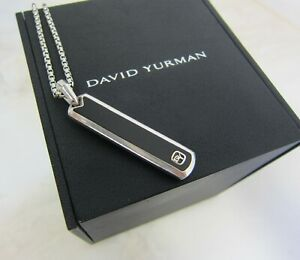 "David Yurman Sterling Silver 925 Onyx Ingot Tag Pendant with 20"" Box Link Chain"