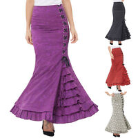 Lady Retro Vintage Gothic Victorian Fishtail Skirt Steampunk Long Mermaid Dress
