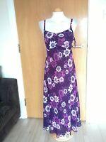 Ladies Dress Size 12 JOANNA HOPE Purple Chiffon Midi Party Evening Wedding
