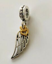 Silver Plated Angel Wing & Heart Love Pendant Charm For Bracelets