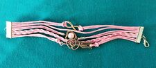 Leather Infinity Charm Bracelet Pink Heart Love Sweetheart charm