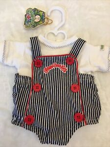 Engineer Cabbage Patch Kids Clothes Doll CPK Outfit Overalls Denim Stripe Rare