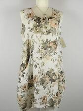 Kleid Tunika beulig Taschen Blumen weiß Gr. 46 - 50 one size Leinen Lagenlook