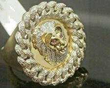 2 CTSim Diamond Red Eye Lion Head Pinky Hip Hop Mens Ring 14K Yellow Gold Over