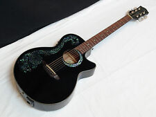 LUNA Fauna Dragon acoustic electric GUITAR Black - Abalone Dragon Inlay NEW