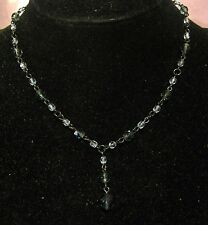 Lovely dark tone metal and various tone blue plastic beads very chic & simple