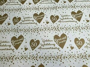 Golden Wedding ~ 50th Anniversary ~  Glossy Wrapping Paper and Tag ~